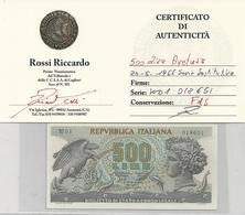 500 Lire - Aretusa - Serie Speciale W - FDS Con Certificato - [ 1] …-1946 : Royaume