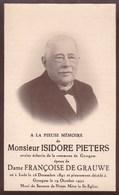 LEDE GYSEGEM GYZEGEM Isidore PIETERS époux Françoise DE GRAUWE, 1841-1932 Ancien échevin DP Souvenir Décès - Obituary Notices
