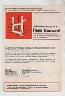 Publicité 1976 Saint Hilaire Du Rosier Restaurant Hôtel Bouvarel Alouettes écrevisses Lièvre - Advertising