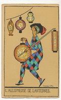 Art Deco L' Allumeuse De Lanternes Arlequin Lanterns  Par Denise Millon No Postcard Back - Other Illustrators