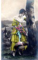 Belle Femme - Coloriée - Bouleau - Fleurs - Femmes