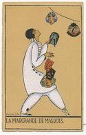 Art Deco La Marchande De Masques Carnaval Pierrot   Par Denise Millon No Postcard Back - Other Illustrators