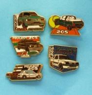 5 PIN'S //   ** PEUGEOT 205 ** GTI / JUNIOR / ROLAND GARROS  / GRIFFE / COLOR LINE ** . (Hélium-Paris) - Peugeot