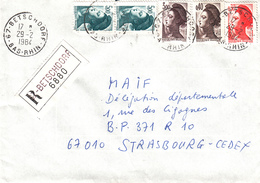 Env Reco Affr Y&T 2182 + 2183 + 2190 X 2 + 2243 Obl BETSCHDORF Du 29.2.1984 Adressée à Strasbourg - Storia Postale