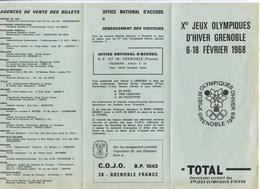 Programme Et Tarif Pour La Vente Des Billets Des X° Jeux Olympiques D'Hiver De Grenoble 1968 Olympic Games 68 - Olympics