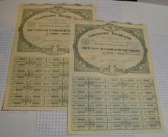 2 Titres De 10 Actions Coppération Bourreliere à Guise Dans L'Aisne - Textile