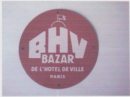 PLAQUE EMAILLEE  BHV  Bazar De L'hotel De Ville Paris (diam.27 Cm) - Enameled Signs (after1960)