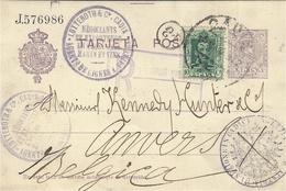 """1923- C P E P 15 C+10 C RECC. De Sevilla Pour La Belgique -exp. Lutteroth """" Agents De Lignes à Vapeur """" - 1889-1931 Kingdom: Alphonse XIII"""