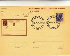 Centenario Della Cartolina Postale, 1874 - 1974 Annullata Faenza Lire 55 - Interi Postali