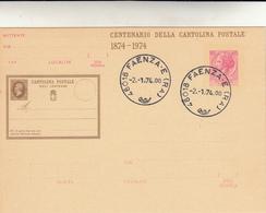 Centenario Della Cartolina Postale, 1874 - 1974 Annullata Faenza Lire 40 - Interi Postali
