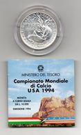 """Italia - 1994 - 10000 Lire FDC """" Campionato Di Calcio USA 94 """" - Argento 835 - Con Custodia - (MW1191) - 1946-… : Republic"""