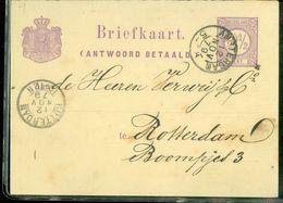 HANDGESCHREVEN BRIEFKAART Antwoord Betaald  Uit 1879 Gelopen Van AMSTERDAM Naar ROTTERDAM (10.661p) - Postal Stationery