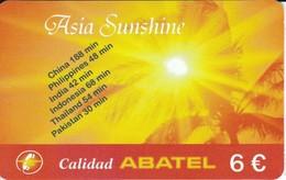 TARJETA DE ESPAÑA DE PREPAGO DE ASIA SUNSHINE (SUNSET-PUESTA DE SOL) ABATEL - Spain