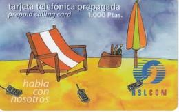 TARJETA DE ESPAÑA DE PREPAGO DE RSL COM (TUMBONA EN LA PLAYA) - Spain
