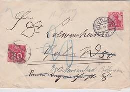 ALLEMAGNE 1914 LETTRE DE CÖLN TAXEE EN AUTRICHE - Germania