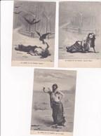 Fable Erotique  La Fontaine 3 Cpa La Cigale Jeune Fille Seins Nus Tres Belle Serie La Cigale Et La Fourmi - Contes, Fables & Légendes