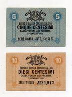 Italia - Cassa Veneta Dei Prestiti - Buono Di Cassa Da 5 E 10 Centesimi - 2 Gennaio 1918 - (FDC8426) - [ 5] Treasure