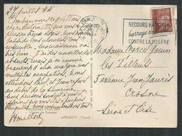 """Flamme """"Secours National Contre La Misère """" Paris VIII 49. R; Laboetie Sur CP Affranchie 1.20F Petain - Postmark Collection (Covers)"""
