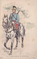Illustrateur Poko Ou P.K ? Militaire Soldat Cavalier Chasseur A Cheval Sabre Au Clair Dragon Rehaussé A L Argent - Illustrateurs & Photographes