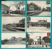 48 CP TRAINS à NOYELLES S/MER_ ARRAS_SERQUEUX.Sans Train LAGNY_MEAUX_LONS LE SAUNIER+ Mines_Neige N° 032 - Postcards