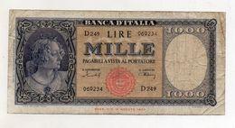 """Italia - Banconota Da Lire 1.000  Italia Ornata Di Perle/Medusa - """" R """" - Decreto 11 Febbraio 1949 - (FDC8427) - [ 2] 1946-… : Républic"""