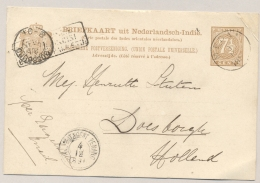 "Nederlands Indië - 1891 - 7,5 Cent Briefkaart G9 Van KR MEDAN Via Penang En ""Via Brindisi / Britsche Pakketb"" Naar NL - Niederländisch-Indien"