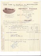 F84 - Vins Fins En Fûts Et Bouteilles Peyret Frères Juliénas Facture 1956 - Food