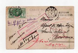 """!!! PRIX FIXE : SENEGAL, CPA DE DAKAR DE 1911 CACHET ROUGE """"INCONNU AU SERVICE COLONIAL DU PORT DE BORDEAUX"""" ET REEXP - Sénégal (1887-1944)"""