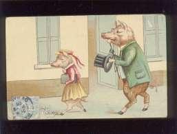Couple De Cochons Humanisés à Attitude Humaine éditeur ? ,  Cochon - Cochons