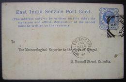 """METEOROLOGIE / INDE: Entier Postal De 1891 Avec Repiquage """"météorologique"""" - Entiers Postaux"""