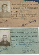 2 Cates De BREVET De GYMNASTIQUE De 1936 Et 37  - V3069 - Diploma & School Reports