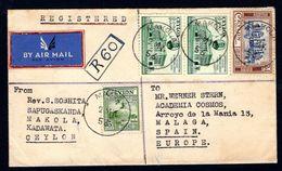 1957 Ceylon - Registered Airmail Cover To Spain - Sri Lanka - Sri Lanka (Ceylon) (1948-...)