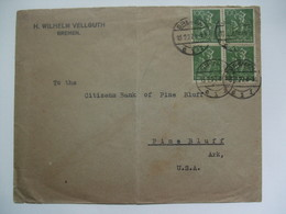 GERMANY - 1922 Cover - Bremen To Pine Bluff Arkansas USA - 4DM Rate - Allemagne