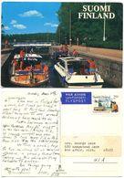 Finland 1997 Postcard Boats In Canal, Turku To U.S., Scott 749 Tourism - Finland