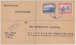 SOUTH W.AFR. UK GB 1935 (10.9.) REG.COMMERC.COVER GUCHAB TO GOLDBERG GERMANY - Afrique Du Sud