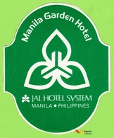 Voyo  HOTEL MANILA GARDEN Manila Philippines Hotel Label  Sticker 1980s - Etiketten Van Hotels