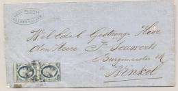 Nederland - 2x 5 Cent Willem III 1e Emissie In Vertikaal Paar Op Omslag Van Geldermalsen Naar Winkel - 1852-1890 (Guillaume III)