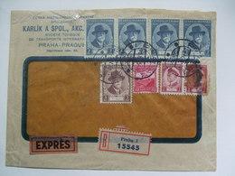CZECHOSLOVAKIA 1935 Cover Prague To Hamburg Germany - Express And Registered (Eingegangen) - Multi-stamped - Czechoslovakia