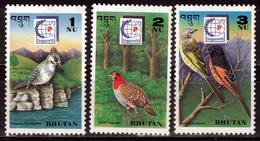 BHUTAN- 1995 BIRDS- 3V- MNH - Bhutan