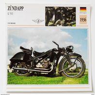 Fiche Technique MOTO Allemagne 1936 ZUNDAPP K 500 - Motos