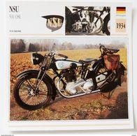 Fiche Technique MOTO Allemagne 1934 NSU 500 OSL - Motos