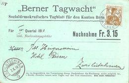 "NN Karte  ""Berner Tagwacht, Bern"" - Zweilütschinen            1910 - Storia Postale"