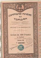 """ACTION DE 100 FRS COMPAGNIE MINIERE DU TORGAN """"LANGUEDOC - ROUSSILLON"""" ANNEE1928 - Mines"""