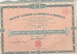 ACTION DE 125 FRS - CATEGORIE B - SOCIETE CENTRALE DES BANQUES DE PROVINCE - ANNEE 1928 - Banque & Assurance