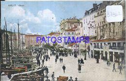 87862 CROATIA SPLIT OBALA VIEW STREET AND BOAT CIRCULATED TO SERBIA POSTAL POSTCARD - Croatia