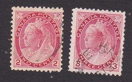 Canada, Scott #77-78, Used, Queen Victoria, Issued 1898 - Gebruikt