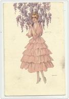 DONNA CON GLICINE ILL.TA BIANCHI 1917 VIAGGIATA FP - Illustrateurs & Photographes