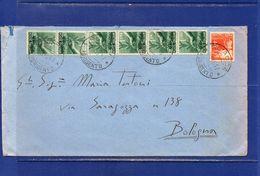 ##(DAN182)-26-12-1947-Sciacca(Agrigento)-busta Per Bologna Affrancata L.10 Con 7 Valori Democratica, Tassata All'arrivo - 1946-60: Storia Postale