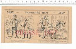 2 Scans Humour De 1897 Jeu De Croquet Zut Ancien Hydrothérapie Peintre Peinture Portrait Di Primo Cartello 216PF10Z - Unclassified