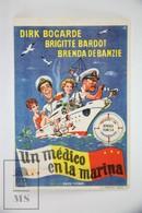 1955 Cinema/ Movie Advertising Leaflet - Doctor At Sea - Dirk Bogarde,  Brenda De Banzie,  Brigitte Bardot - Cinema Advertisement